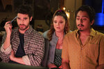 """This image released by Quibi shows Darren Criss, from left, Kether Donohue and Tony Revolori in a scene from Quibi's new 12-part series """"Royalties."""