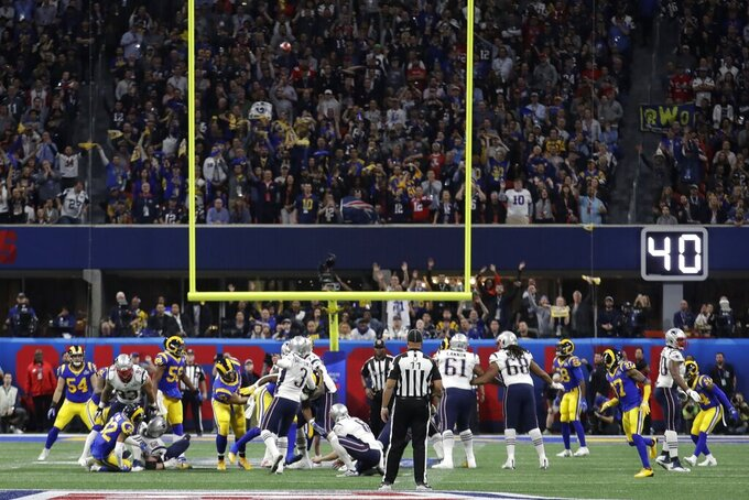 New England Patriots' Stephen Gostkowski (3) misses a field goal, during the first half of the NFL Super Bowl 53 football game against the Los Angeles Rams, Sunday, Feb. 3, 2019, in Atlanta. (AP Photo/Lynne Sladky)