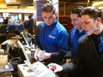 FILE - This Oct. 25, 2018, file photo shows employees at the sports book at the Tropicana casino in Atlantic City, N.J. counting money moments before it opened. Sports books say the blitz of advertising they launched in the run up to the 2021 Super Bowl, while costly, paid off in terms of attracting new customers to the fast-growing legal sports betting industry in the U.S. (AP Photo/Wayne Parry, File)