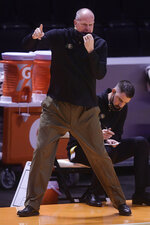Colorado coach Tad Boyle calls from the sideline during the team's NCAA college basketball game against Tennessee on Tuesday, Dec. 8, 2020, in Knoxville, Tenn. (Caitie McMekin/Knoxville New-Sentinel via AP)