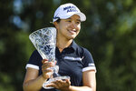 Sei Young Kim holds the trophy after winning the Marathon LPGA Classic tournament on Sunday July 14, 2019, at Highland Meadows Golf Club in Sylvania, Ohio. (Rebecca Benson/The Blade via AP)