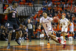 Texas Tech's Terrence Shannon Jr. brings the ball down the court against Oklahoma State during an NCAA college basketball game in Stillwater, Okla., Saturday, Feb. 15, 2020. (AP Photo/Mitch Alcala)