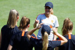 Netherlands' head coach Sarina Wiegman talks to her players during a training session of the Netherlands Women's soccer team at the Stade du Merlo in Oullins, outside Lyon, France, Friday, July 5, 2019. Netherlands will face US in a Women's World Cup final match Sunday in Lyon. (AP Photo/Francois Mori)