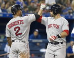Boston Red Sox's J. D. Martinez is greeted by Xander Bogaerts at home plate after hitting a solo home run against the Toronto Blue Jays during the fifth inning of a baseball game Thursday, Aug. 9, 2018, in Toronto. (Fred Thornhill/The Canadian Press via AP)