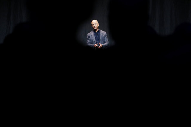 "FILE - In this May 9, 2019, file photo Jeff Bezos speaks at an event before unveiling Blue Origin's Blue Moon lunar lander in Washington. Two U.N. experts this week called for the U.S. to investigate a likely hack of Bezos' phone that could have involved Saudi Arabian Crown Prince Mohammed bin Salman. A commissioned forensic report found with ""medium to high confidence"" that Bezos' phone was compromised by a video MP4 file he received from the prince in May 2018. (AP Photo/Patrick Semansky, File)"