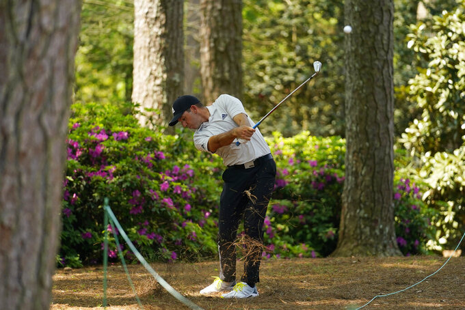 Sergio Garcia, of Spain, hits out of the rough on the 14th fairway during a practice round for the Masters golf tournament on Wednesday, April 7, 2021, in Augusta, Ga. (AP Photo/Matt Slocum)