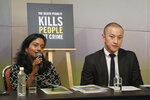 Shamini Darshni Kalimuthu, Executive Director of Amnesty International Malaysia, speaks to media as Brian Yap, Research Consultant of Amnesty International Malaysia, looks on during a press conference in Petaling Jaya, Malaysia, Thursday, Oct. 10, 2019. Amnesty International has urged Malaysia to abolish the death penalty, saying unfair trials and the use of harsh treatment to obtain confessions put people at risk of execution. (AP Photo/Vincent Thian)