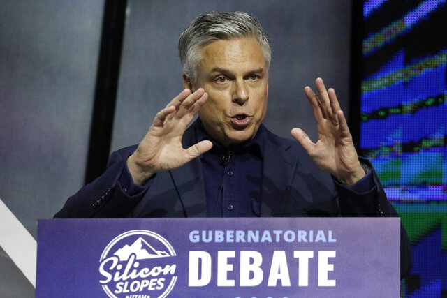 FILE- In this Jan. 31, 2020, file photo, Republican ex-Russia ambassador Jon Huntsman Jr. speaks during a debate for Utah's 2020 gubernatorial race, in Salt Lake City. The state's June 30 primary will decide the Republican nominee for the first open governor's race in more than a decade. In a state that hasn't elected a Democratic governor in more than 40 years, the GOP nominee is an almost-certain winner. With four candidates still duking it out, the primary could be close. (AP Photo/Rick Bowmer, File)