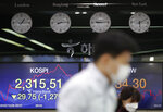 Currency traders walk near the screens showing the Korea Composite Stock Price Index (KOSPI), left, and the foreign exchange rate between U.S. dollar and South Korean won at the foreign exchange dealing room in Seoul, South Korea, Thursday, Oct. 29, 2020. Asian shares logged moderate losses on Thursday and U.S. futures turned higher after the S&P 500 slid 3.5% overnight for its biggest drop since June.(AP Photo/Lee Jin-man)