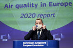 European Commissioner for Environment and Oceans Virginijus Sinkevicius speaks during a media conference on the air quality in Europe for 2020 at EU headquarters in Brussels, Monday, Nov. 23, 2020. (Kenzo Tribouillard, Pool via AP)