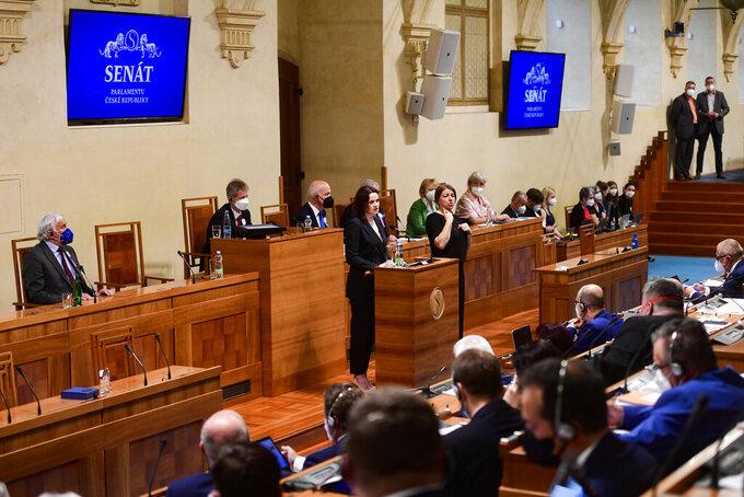 Belarusian opposition leader Sviatlana Tsikhanouskaya delivers a spech in the Senate of the Czech Republic in Prague, Wednesday, June 9, 2021. (Vondrous Roman/CTK Pool Photo via AP)