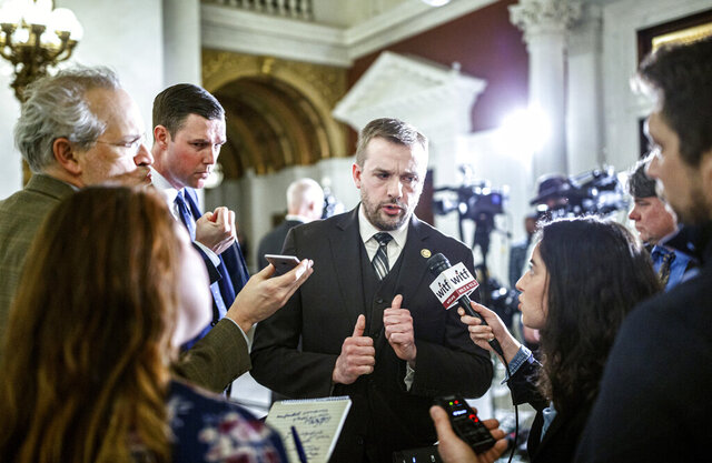 File-This Feb.4, 2020, file photo shows State Rep. Bryan Cutler, R-Lancaster County, talking after Pennsylvania Gov. Tom Wolf delivered his 2020-21 budget address in Harrisburg, Pa. In recent days, President Donald Trump has reached out to Cutler to find out how he can advance his cause in the state for
