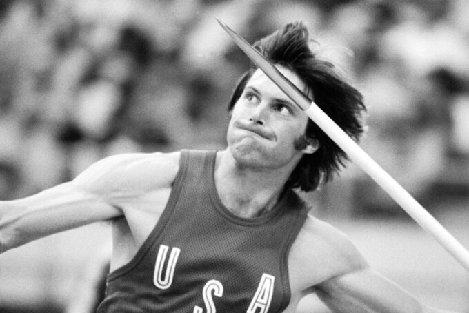 FILE - In this July 30, 1976 file photo, Bruce Jenner, of the United States, throws the javelin during decathlon competition at the Summer Olympic Games in Montreal. Jenner won the gold medal in the event. (AP Photo, file)