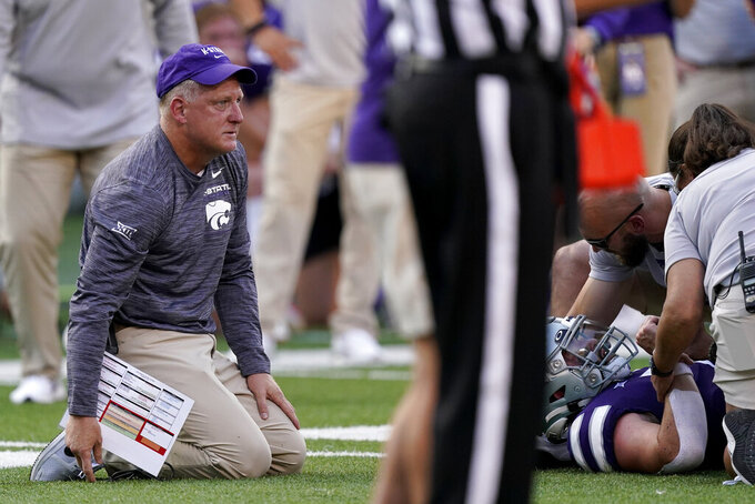 Kansas State head coach Chris Klieman watches as Kansas State quarterback Skylar Thompson was injured during the first half of an NCAA college football game against Southern Illinois, Saturday, Sept. 11, 2021, in Manhattan, Kan.(AP Photo/Charlie Riedel)