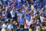Tennessee State fans dance in the stands during the team's NCAA college football game against Southeast Missouri State on Sunday, April 11, 2021, in Nashville, Tenn. Because of COVID-19, the OVC postponed the 2020 season to the spring, and the decision was made to play games on Sunday because member schools needed flexibility to staff all the spring sports. (AP Photo/Mark Humphrey)