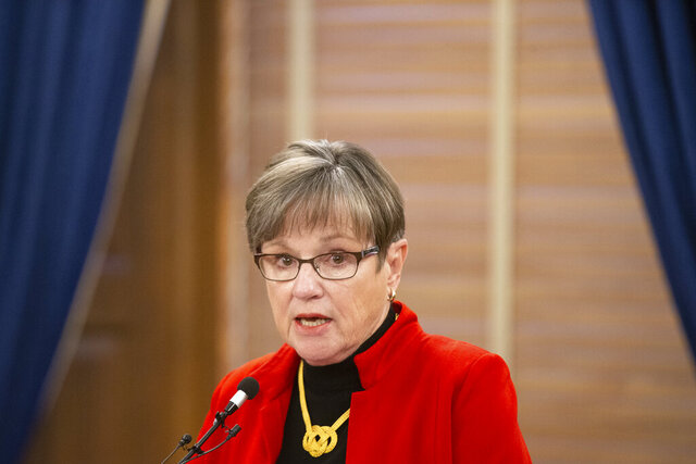 Kansas Gov. Laura Kelly gives a news conference Tuesday afternoon where she made an announcement regarding Kasnas' Unified Testing Strategy and give updates in regards to COVID-19. (Evert Nelson/The Capital-Journal via AP)