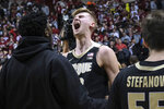 Purdue center Matt Haarms reacts to the team's 48-46 win over Indiana in an NCAA college basketball game in Bloomington, Ind., Tuesday, Feb. 19, 2019. (AP Photo/AJ Mast)