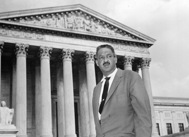 FILE - This Aug. 22, 1958 file photo shows Thurgood Marshall outside the Supreme Court in Washington. Maryland's Black history is well-represented in Gov. Larry Hogan's recommendations for President Donald Trump's consideration in a planned National Garden of American Heroes. More than half of Hogan's 10 recommendations with local ties are Black, including the nation's first Black U.S. Supreme Court Justice, Thurgood Marshall, who was born in Baltimore. Some of the white Marylanders Hogan is recommending were known for pursuing racial equality. (AP Photo, File)
