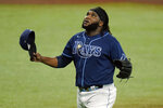 Tampa Bay Rays relief pitcher Diego Castillo reacys after pitching out of trouble against the Philadelphia Phillies during the sixth inning of a baseball game Saturday, Sept. 26, 2020, in St. Petersburg, Fla. (AP Photo/Chris O'Meara)