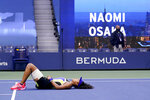 Naomi Osaka, of Japan, reacts after defeating Victoria Azarenka, of Belarus, in the women's singles final of the US Open tennis championships, Saturday, Sept. 12, 2020, in New York. (AP Photo/Seth Wenig)