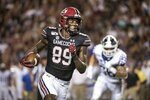 South Carolina wide receiver Bryan Edwards (89) runs with the ball against Kentucky during the first half of an NCAA college football game Saturday, Sept. 28, 2019, in Columbia, S.C. (AP Photo/Sean Rayford)