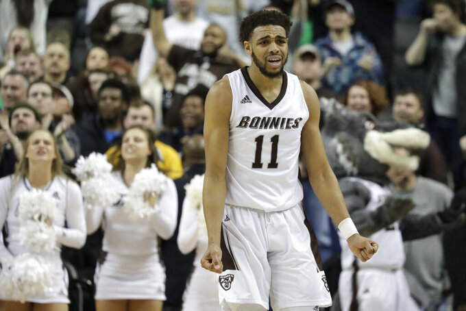 St. Bonaventure forward Courtney Stockard reacts during the second half of the team's NCAA college basketball game against Saint Louis in the final of the Atlantic 10 men's tournament Sunday, March 17, 2019, in New York. Saint Louis won 55-53. (AP Photo/Julio Cortez)