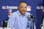 National League manager Dave Roberts speaks during a news-conference, Monday, July 8, 2019, in Cleveland. The 90th All-Star Game will be played on Tuesday in Cleveland. (AP Photo/Tony Dejak)