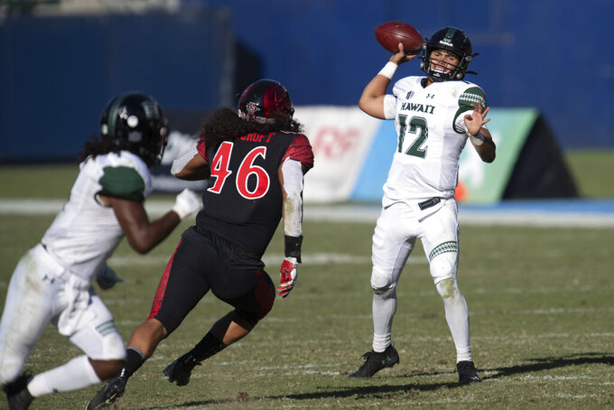 Hawaii quarterback Chevan Cordeiro, right, throws a pass during the first half of an NCAA college football game against San Diego State Saturday, Nov. 14, 2020, in Carson, Calif. (AP Photo/Kyusung Gong)