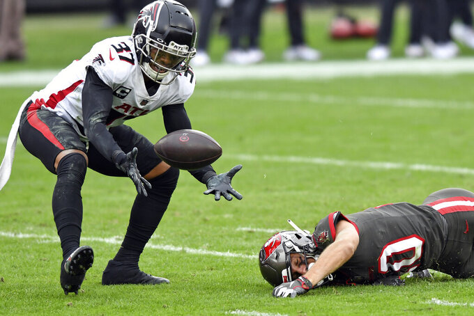Atlanta Falcons free safety Ricardo Allen (37) intercepts a pass that was intended for Tampa Bay Buccaneers wide receiver Scott Miller (10) during the second half of an NFL football game Sunday, Jan. 3, 2021, in Tampa, Fla. (AP Photo/Jason Behnken)