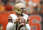 Florida State's Deondre Francois looks to pass in the first quarter of an NCAA college football game against Syracuse in Syracuse, N.Y., Saturday, Sept. 15, 2018. (AP Photo/Nick Lisi)