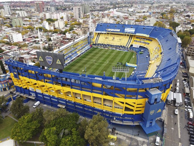 The Bombonera stadium is seen before a local league soccer match between Boca Juniors and River Plate in Buenos Aires, Argentina, Sunday, May 16, 2021. (AP Photo/Daniel Jayo)