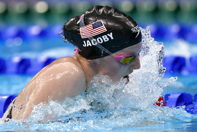 Lydia Jacoby of the United States swims in the final of the women's 100-meter breaststroke at the 2020 Summer Olympics, Tuesday, July 27, 2021, in Tokyo, Japan. (AP Photo/Martin Meissner)