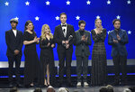 FILE - In this Jan. 13, 2019, file photo, Kunal Nayyar, from left, Mayim Bialik, Melissa Rauch, Jim Parsons, Simon Helberg, Kaley Cuoco and Johnny Galecki, from the cast of