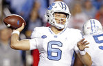North Carolina quarterback Cade Fortin (6) passes against Virginia Tech during the first half of an NCAA college football game in Chapel Hill, N.C., Saturday, Oct. 13, 2018. (AP Photo/Gerry Broome)