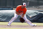 Baltimore Orioles first baseman Chris Davis fields a ground ball from Tampa Bay Rays' Michael Perez in the first inning of a spring training baseball game Monday, March 2, 2020, in Sarasota, Fla. (AP Photo/John Bazemore)