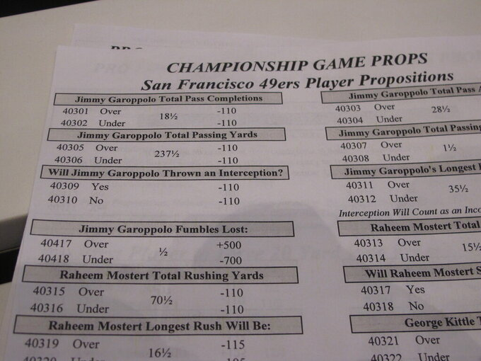 """In this Jan. 29, 2020, photo, a paper inside Bally's casino in Atlantic City N.J., lists some of the many """"proposition"""" bets that gamblers may make on the Super Bowl, wagering whether a particular outcome during the game will occur or not. Gambling industry officials expect Sunday's Super Bowl to be among the most heavily wagered-on championship games ever. (AP Photo/Wayne Parry)"""