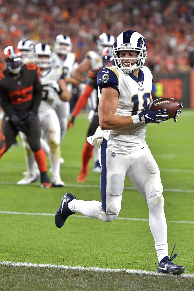 Los Angeles Rams wide receiver Cooper Kupp scores a 6-yard touchdown during the second half of an NFL football game against the Cleveland Browns, Sunday, Sept. 22, 2019, in Cleveland. (AP Photo/David Richard)