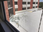 In this photo provided by Raven Green, is damage to a dormitory building with windows blown out and other debris that fell after an explosion at the University of Nevada, Reno, Friday, July 5, 2019, in Reno, Nev. Authorities say a utilities explosion at the university caused the partial collapse of a dormitory building and at least minor injuries. Student Raven Green told The Associated Press she was in her room at Argenta Hall watching Netflix when she heard a loud boom and felt the building shake. (Raven Green via AP)