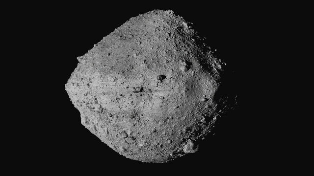 This undated image made available by NASA shows the asteroid Bennu from the OSIRIS-REx spacecraft. After almost two years circling the ancient asteroid, OSIRIS-REx will attempt to descend to the treacherous, boulder-packed surface and snatch a handful of rubble on Tuesday, Oct. 20, 2020. (NASA/Goddard/University of Arizona/CSA/York/MDA via AP)