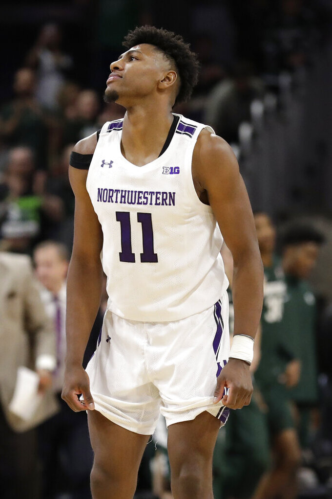 Northwestern guard Anthony Gaines reacts to his team's 77-72 loss to Michigan State in an NCAA college basketball game Wednesday, Dec. 18, 2019, in Evanston, Ill. (AP Photo/Nam Y. Huh)