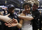 Purdue guard Carsen Edwards (3) celebrates with fans after Purdue defeated Northwestern 70-57 in an NCAA college basketball game Saturday, March 9, 2019, in Evanston, Ill. (AP Photo/Nam Y. Huh)