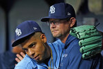 Tampa Bay Rays pitcher Luis Patino, left, hugs pitching coach Kyle Snyder after retiring the New York Yankees during the sixth inning of a baseball game Thursday, July 29, 2021, in St. Petersburg, Fla. (AP Photo/Chris O'Meara)