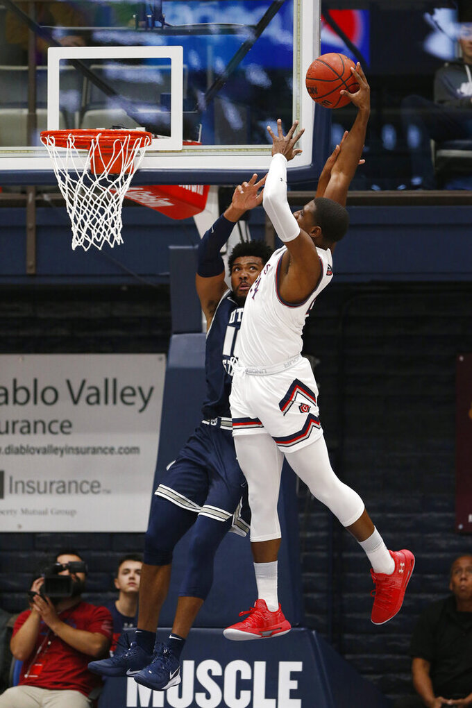 Saint Mary's forward Malik Fitts (24) shoots over Utah State forward Alphonso Anderson (10) during the first half of an NCAA college basketball game in Moraga, Calif., Friday, Nov. 29, 2019. (AP Photo/Jed Jacobsohn)