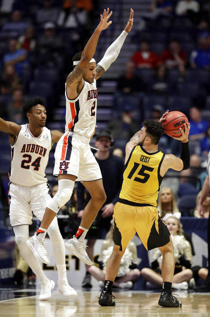 Auburn guard Bryce Brown (2) defends against Missouri guard Jordan Geist (15) in the second half of an NCAA college basketball game at the Southeastern Conference tournament Thursday, March 14, 2019, in Nashville, Tenn. Auburn won 81-71. (AP Photo/Mark Humphrey)