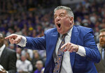 Auburn head coach Bruce Pearl reacts to a call on one of his players in the first half of an NCAA college basketball game against LSU, Saturday, Feb. 9, 2019, in Baton Rouge, La. (AP Photo/Bill Feig)
