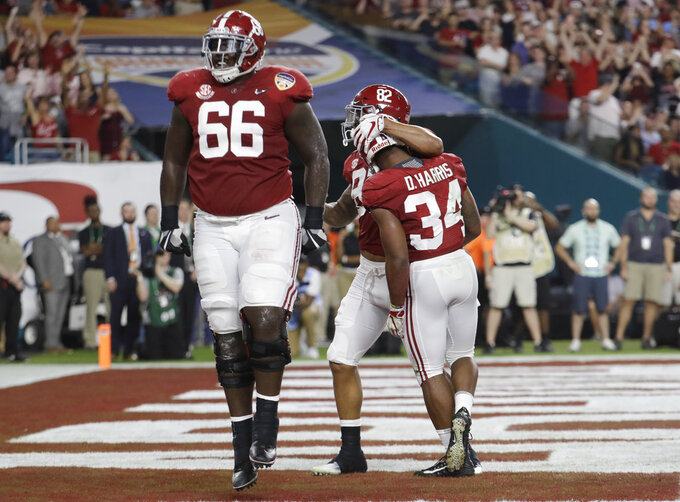 Alabama offensive lineman Lester Cotton Sr. (66) and tight end Irv Smith Jr. (82) celebrate after running back Damien Harris (34) scored a touchdown, during the first half of the Orange Bowl NCAA college football game against Oklahoma, Saturday, Dec. 29, 2018, in Miami Gardens, Fla. (AP Photo/Lynne Sladky)