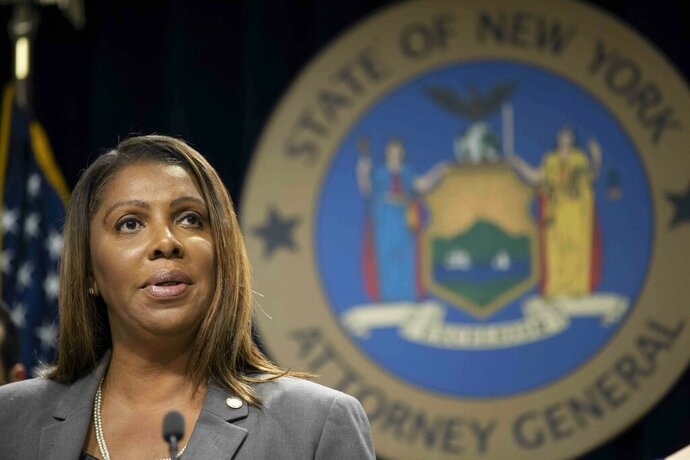 FILE - In this June 11, 2019 file photo, New York Attorney General Letitia James speaks during a news conference in New York. James says a bipartisan coalition of state attorneys general is investigating Facebook for alleged antitrust issues. James said Friday, Sept. 6,  the probe will look into whether Facebook's actions endangered consumer data, reduced the quality of consumers' choices or increased the price of advertising. (AP Photo/Mary Altaffer, File)