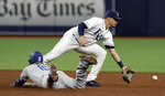 Los Angeles Dodgers' Justin Turner (10) slides safely into second with a double ahead of the throw to Tampa Bay Rays shortstop Willy Adames during the fifth inning of a baseball game Tuesday, May 21, 2019, in St. Petersburg, Fla. (AP Photo/Chris O'Meara)