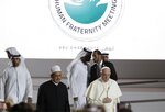 Pope Francis is flanked by Sheikh Ahmed el-Tayeb, the grand imam of Egypt's Al-Azhar as they arrive for an Interreligious meeting at the Founder's Memorial in Abu Dhabi, United Arab Emirates, Monday, Feb. 4, 2019. Pope Francis arrived in Abu Dhabi on Sunday. His visit represents the first papal trip ever to the Arabian Peninsula, the birthplace of Islam. (AP Photo/Andrew Medichini)