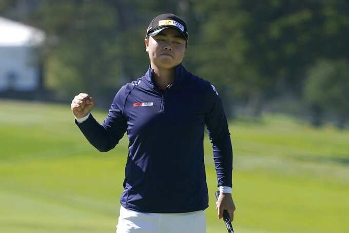 Yuka Saso, of the Philippines, celebrates her victory during the final round of the U.S. Women's Open golf tournament at The Olympic Club, Sunday, June 6, 2021, in San Francisco. Saso defeated Nasa Hataoka, of Japan, in a three-hole playoff. (AP Photo/Jeff Chiu)